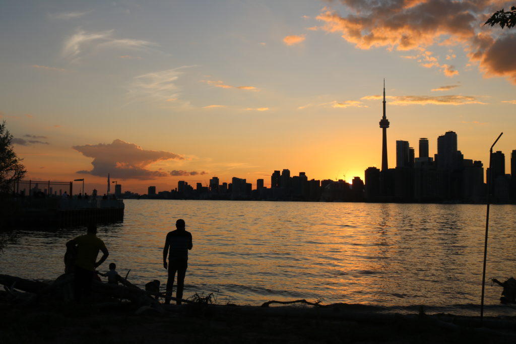 View of a Toronto sunset from Ward's Island ferry