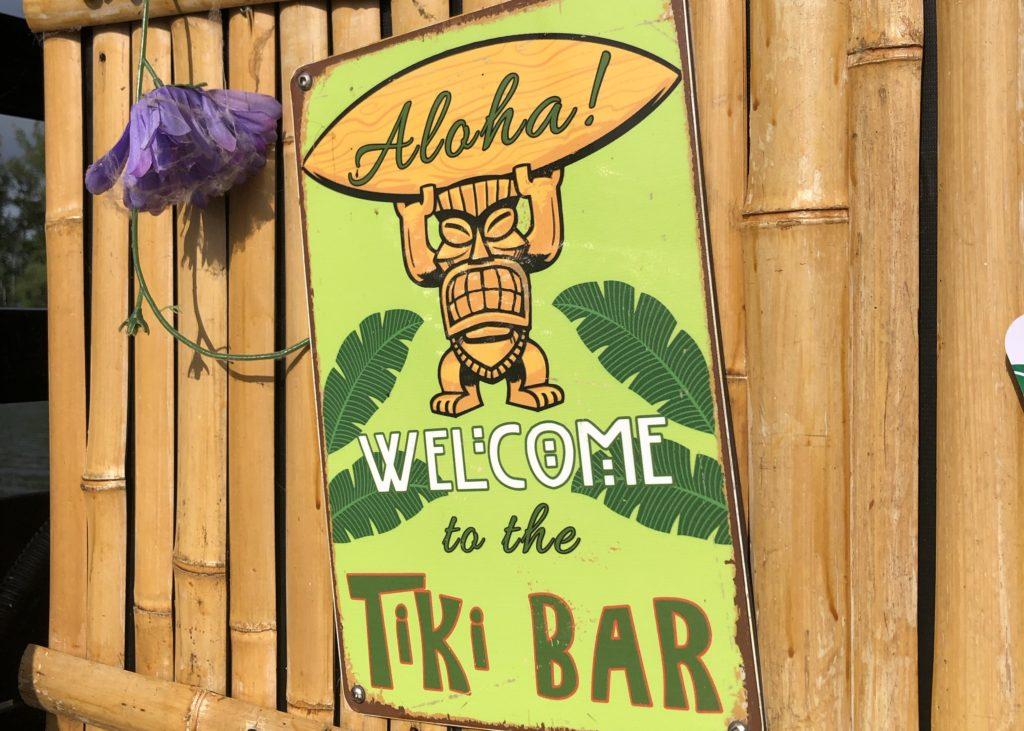 A tiki bar sign aboard the Tiki Taxi