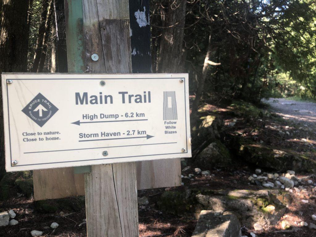 Trailhead sign for the Half Log Dump to Storm Haven hike.