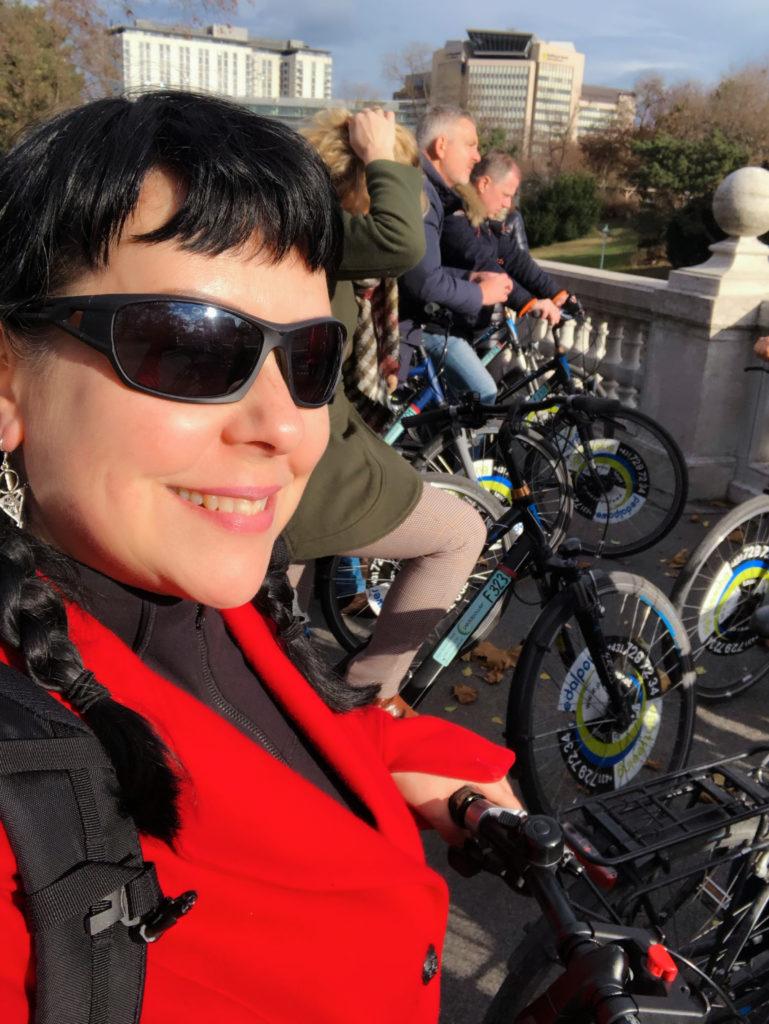 Woman cycling in Vienna Austria
