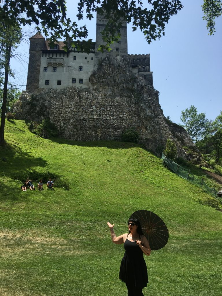 Goth Girl at Dracula's Castle in Bran, Romania
