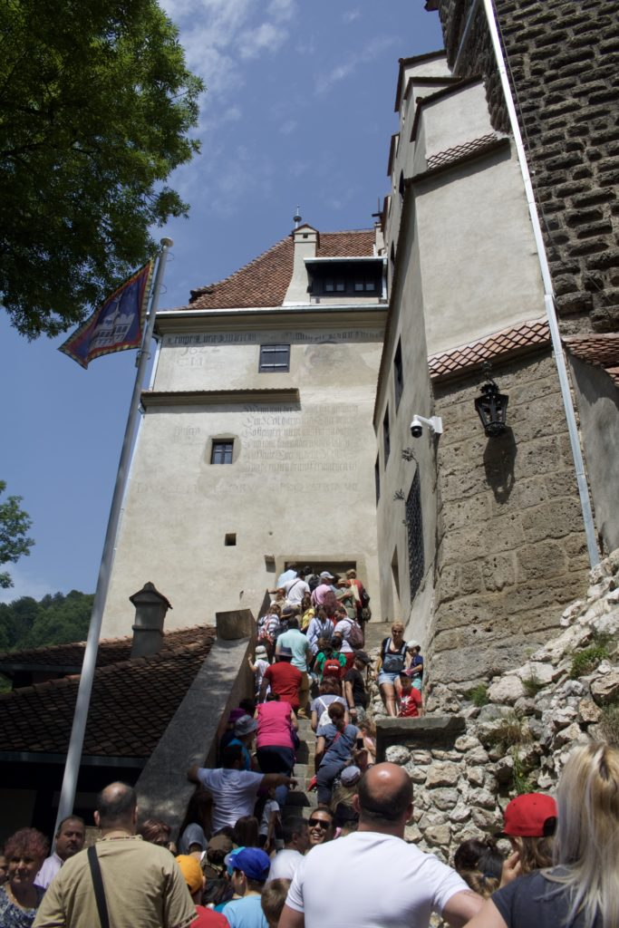 A crowded line up to enter Bran Castle in Romania