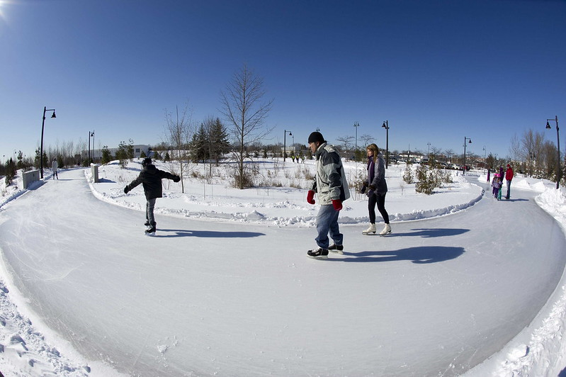 Skaters at Colonel Samuel Smith Park in Toronto
