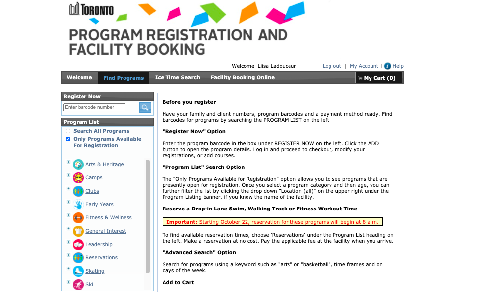 City of Toronto website screenshot
