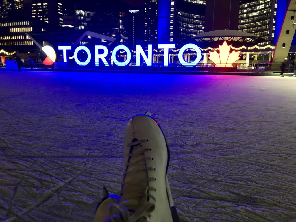ice skating at City Hall in Toronto
