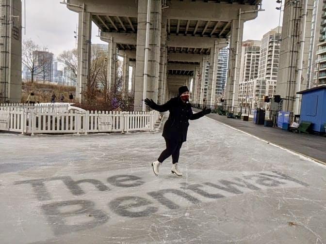 Woman skating at the Bentway in Toronto