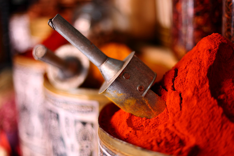Red spices in Moroccan market
