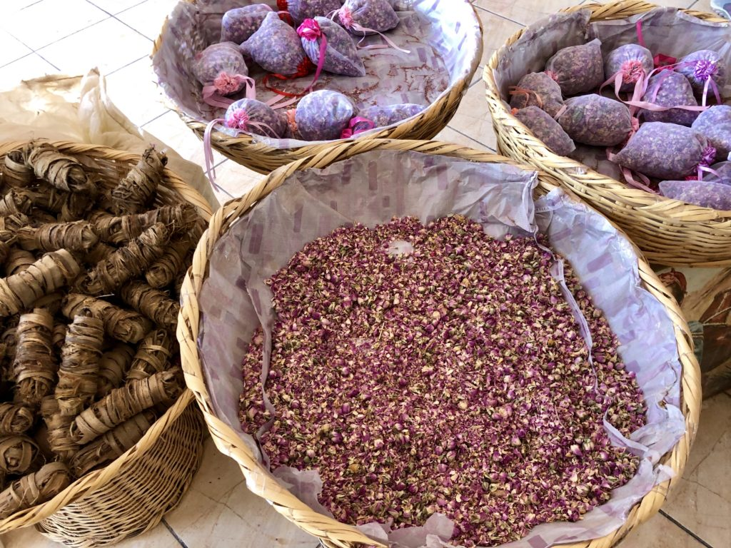 Rose products for sale in the M'Goun Valley of Morocco