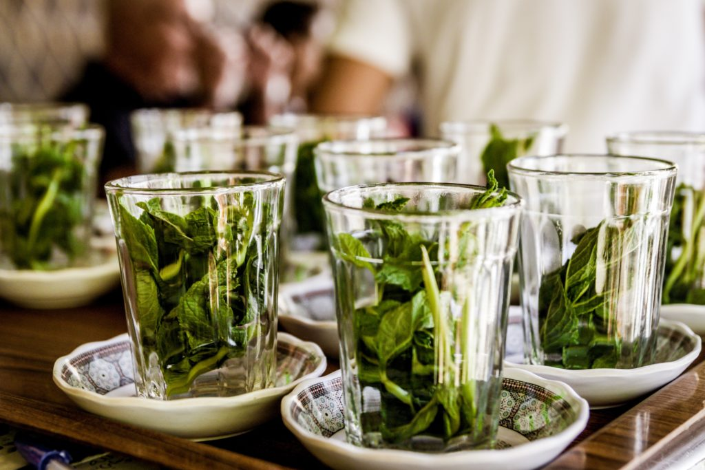 Mint leaves in glasses for Morocco tea
