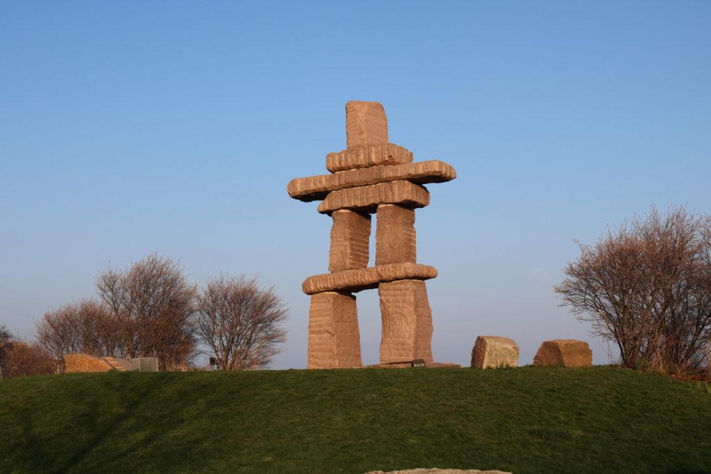 Inukshuk statue in Toronto near Trillium Park.