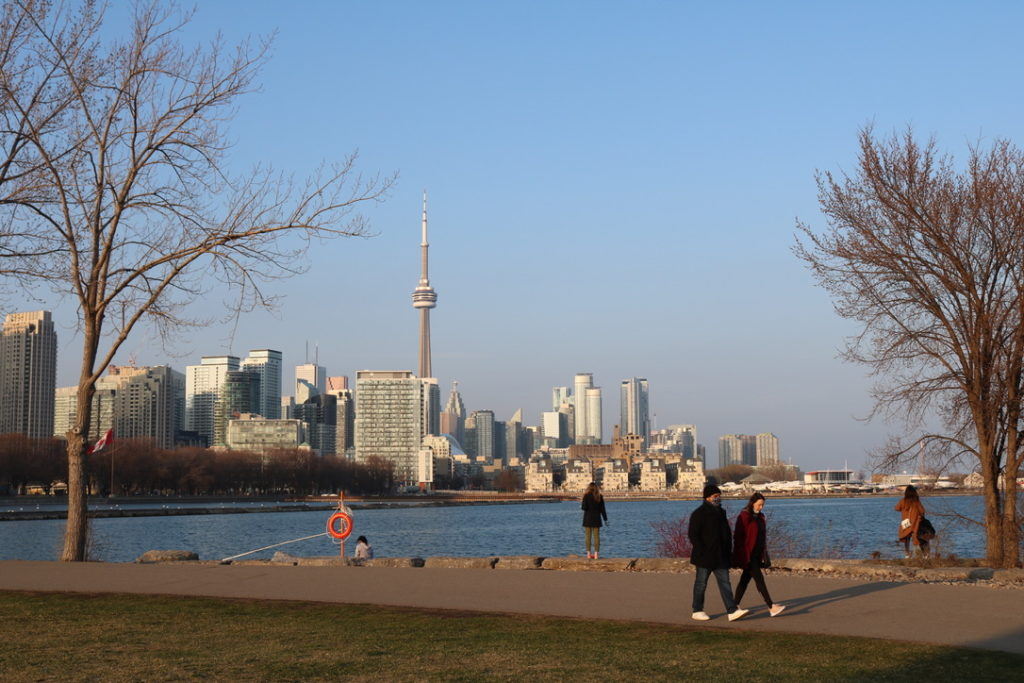 View of the CN Tower from Toronto's Trillium Park