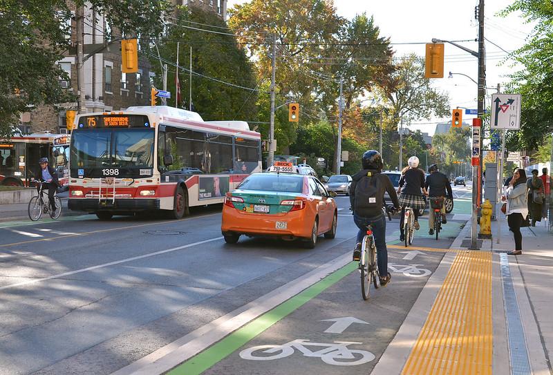 Cycling in Toronto on Sherbourne bike lane
