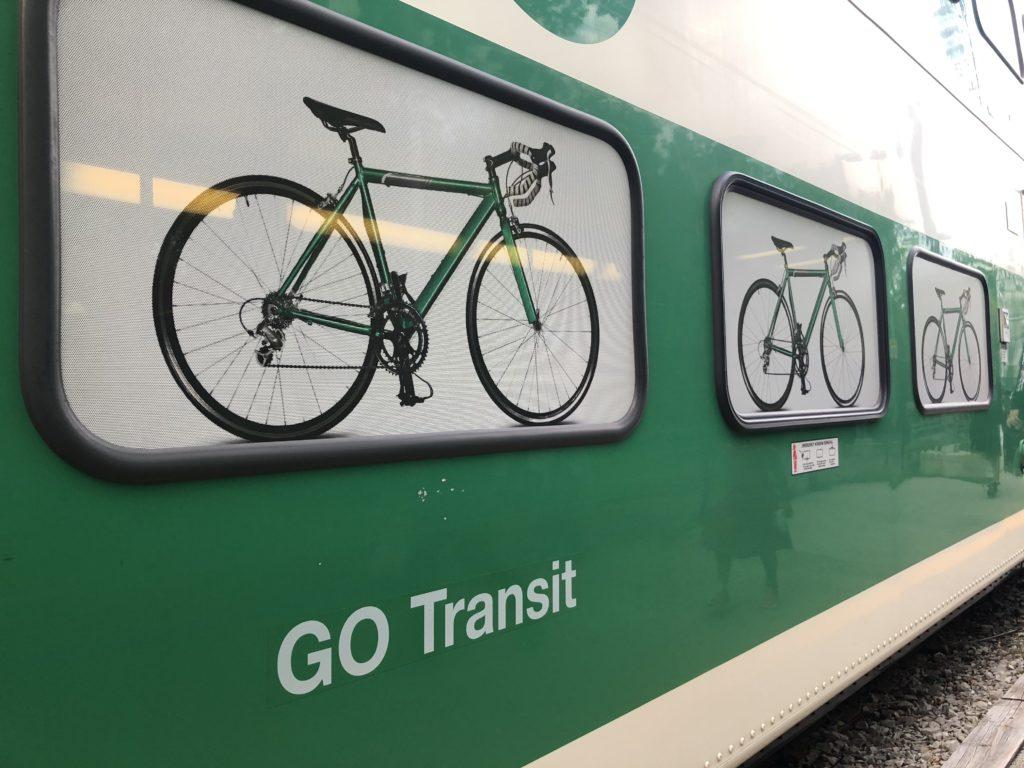 Bike cars on the Go Train to Niagara Falls