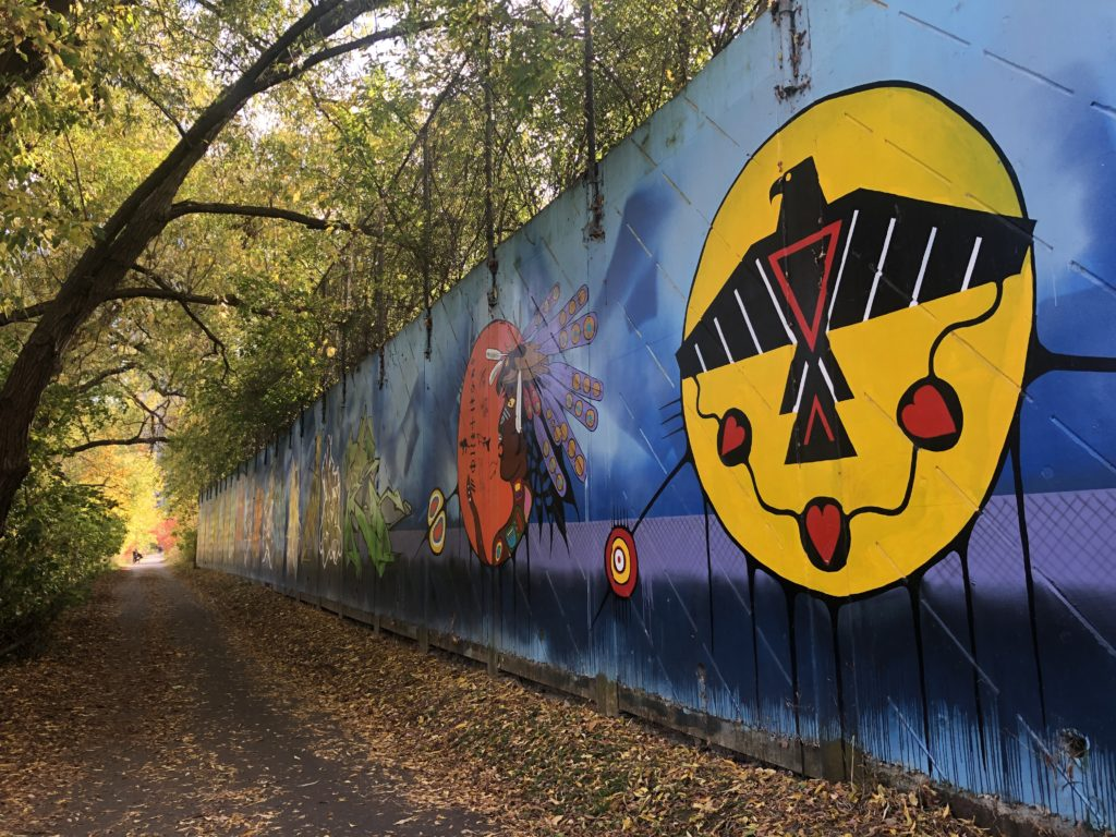 Indigenous artwork mural on the Humber River trail in Toronto