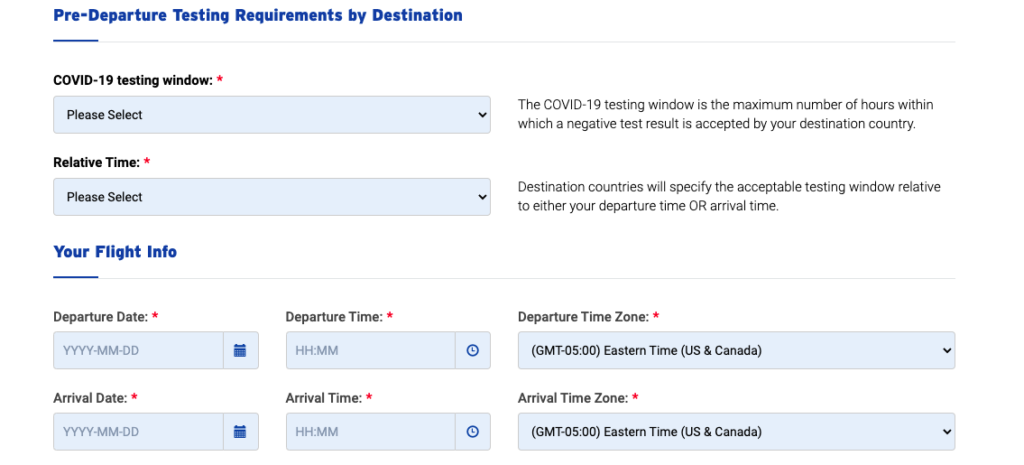 Screen shot of a LifeLabs covid 19 schedule for covid test to travel to Italy from Canada