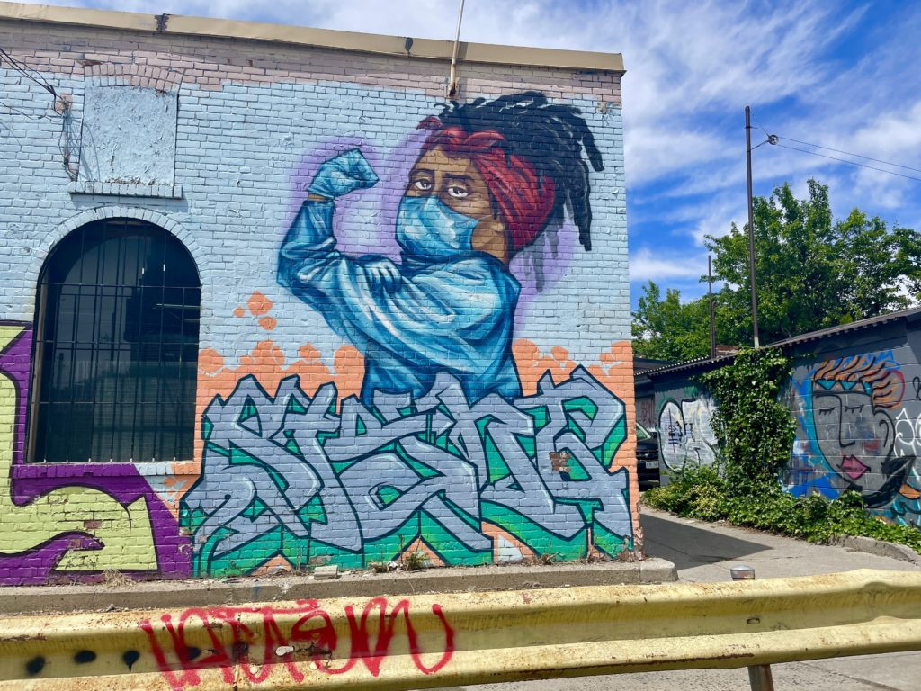 Healthcare worker mural in Little Portugal Toronto