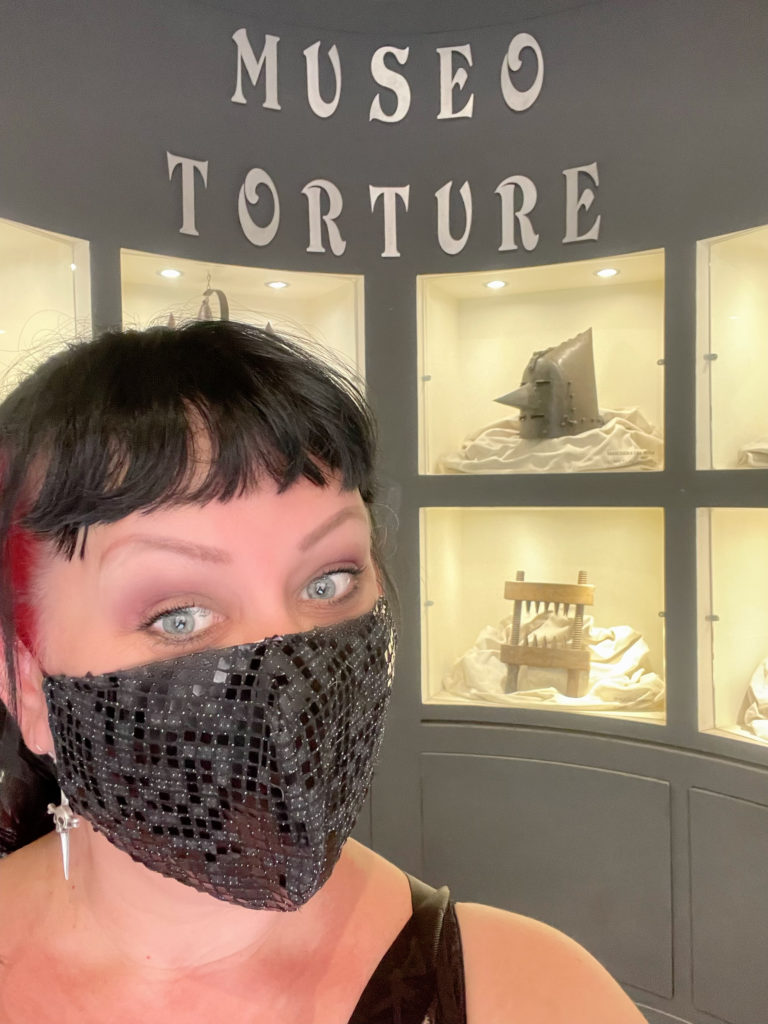 Liisa at the Torture Museum in Montepulciano, Tuscany