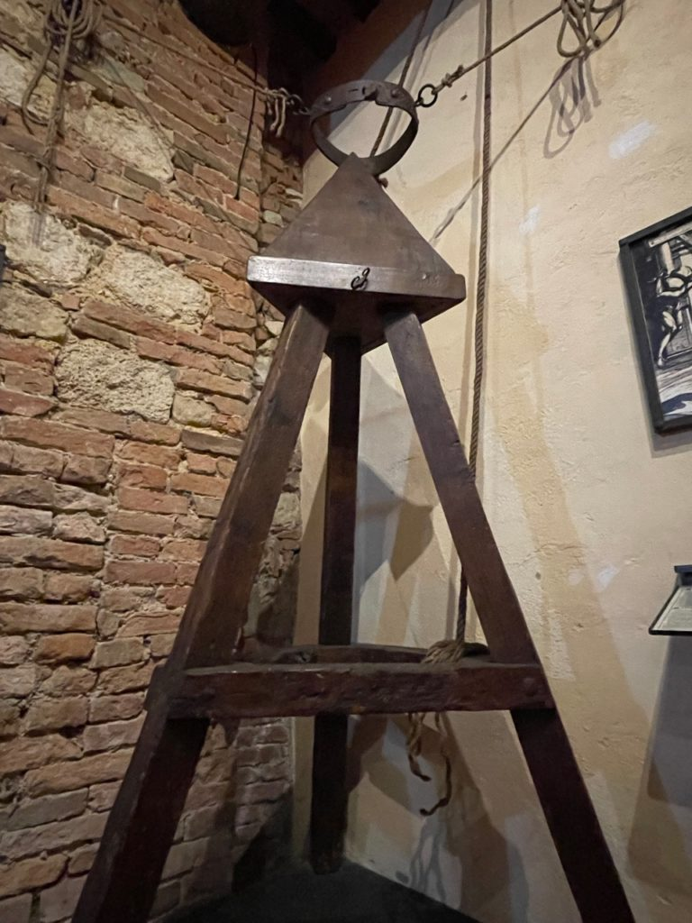 Judas Cradle device the Torture Museum in Montepulciano, Italy